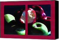 Dramatic Light Mixed Media Canvas Prints - Bitten Apple Diptych Canvas Print by Steve Ohlsen