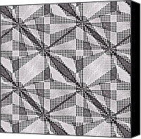 Susan Leggett Digital Art Canvas Prints - Black and White Abstract Canvas Print by Susan Leggett
