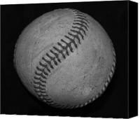 Mlb Digital Art Canvas Prints - Black And White Baseball Canvas Print by Rob Hans