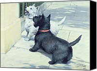 Scottie Dog Canvas Prints - Black and White Dogs Canvas Print by Septimus Edwin Scott
