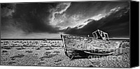 Wooden Boat Canvas Prints - Black And White In Dungeness Canvas Print by Meirion Matthias