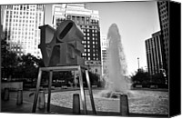 Love Park Canvas Prints - Black and White Love Canvas Print by Bill Cannon