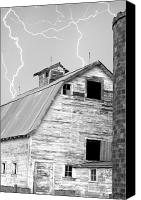 Contry Canvas Prints - Black and white Old Barn Lightning Strikes Canvas Print by James Bo Insogna