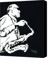 Saxaphone Painting Canvas Prints - Black and White Sax Canvas Print by Richard Roselli