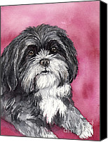 Dog Art Canvas Prints - Black and White Shih Tzu Canvas Print by Cherilynn Wood