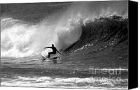 Surfing Canvas Prints - Black and White Surfer Canvas Print by Paul Topp