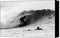 Surfers Canvas Prints - Black and White Tube Ride Canvas Print by Paul Topp