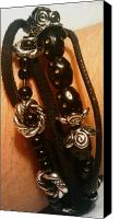 Music Jewelry Canvas Prints - Black bead and suede bracelet Canvas Print by Tashamee Dorsey