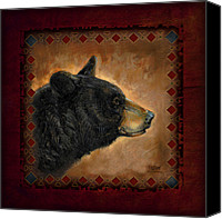 Tribal Art Painting Canvas Prints - Black Bear Lodge Canvas Print by JQ Licensing