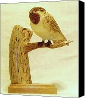 Woodcarving Sculpture Canvas Prints - Black-Capped Chickadee Canvas Print by Russell Ellingsworth