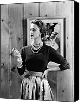 1950s Fashion Canvas Prints - Black Cashmere Pullover Is Worn Canvas Print by Everett