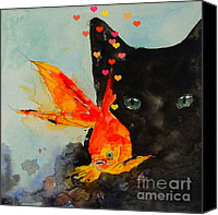 Feline  Canvas Prints - Black Cat and the Goldfish Canvas Print by Paul Lovering