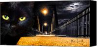 Macabre Canvas Prints - Black Cat Crossed My Path Canvas Print by Bob Orsillo