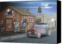 Ford Sedan Canvas Prints - Black Cat Juke Joint Canvas Print by Stuart Swartz