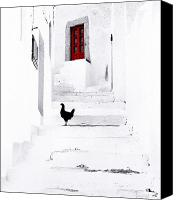 Red Door Canvas Prints - Black Chicken Patmos Canvas Print by Andy Frasheski