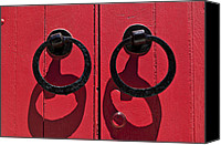 Door Handles Canvas Prints - Black door handles red door Canvas Print by Garry Gay