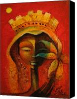 Haitian Canvas Prints - Black Flower Queen Canvas Print by Elie Lescot