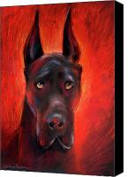 Great Dane Canvas Prints - Black Great Dane dog painting Canvas Print by Svetlana Novikova