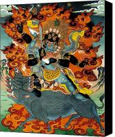 Thangka Canvas Prints - Black Hayagriva Canvas Print by Sergey Noskov