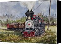 Train Painting Canvas Prints - Black Hills Central Number 7 Canvas Print by Sam Sidders