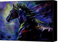 Williams Painting Canvas Prints - Black Horse Canvas Print by Diane Williams
