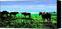 Montana Digital Art Canvas Prints - Black Horses ... Montana Art Photo Canvas Print by GiselaSchneider MontanaArtist