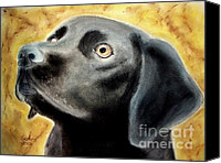 Black Family Pastels Canvas Prints - Black Lab Canvas Print by Carol Grimes