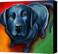 Black Digital Art Canvas Prints - Black Lab Canvas Print by David Kyte