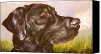 Mutt Canvas Prints - Black Lab In The Field Canvas Print by Susan A Becker
