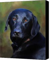 Labrador Retriever Canvas Prints - Black Lab Portrait Canvas Print by Jai Johnson