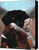 Pheasant Painting Canvas Prints - Black Labrador with Pheasant Canvas Print by Bradley Litz