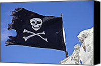Waving Canvas Prints - Black Pirate Flag  Canvas Print by Garry Gay