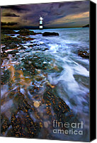 Wales Canvas Prints - Black Point Light Canvas Print by Meirion Matthias