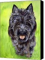 Scottie Dog Canvas Prints - Black Scottish Terrier Canvas Print by Cherilynn Wood