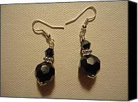 Glitter Earrings Jewelry Canvas Prints - Black Sparkle Drop Earrings Canvas Print by Jenna Green
