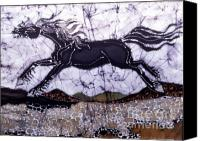 Motion Tapestries - Textiles Canvas Prints - Black Stallion Gallops Over Stones Canvas Print by Carol  Law Conklin