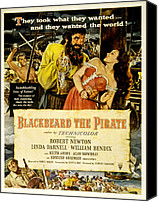 1950s Movies Canvas Prints - Blackbeard The Pirate, Poster Art Canvas Print by Everett