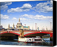 Skyline Canvas Prints - Blackfriars Bridge and St. Pauls Cathedral in London Canvas Print by Elena Elisseeva