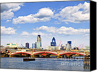 Barge Canvas Prints - Blackfriars Bridge with London skyline Canvas Print by Elena Elisseeva