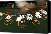 Caucasian Appearance Canvas Prints - Blackjack Casino Game Canvas Print by Pete Ryan