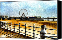 Fun Fair Canvas Prints - Blackpool Piers Canvas Print by Sabine Jacobs