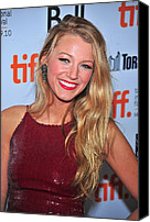 Wavy Hair Canvas Prints - Blake Lively At Arrivals For The Town Canvas Print by Everett