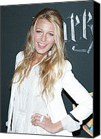Wavy Hair Canvas Prints - Blake Lively Wearing A Dolce & Gabbana Canvas Print by Everett