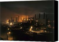 Factories Canvas Prints - Blast Furnaces Of A Steel Mill Light Canvas Print by J. Baylor Roberts
