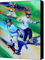 Sports Art Canvas Prints - Blasting Boarders Canvas Print by Hanne Lore Koehler