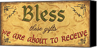 Inspirational Painting Canvas Prints - Bless These Gifts Canvas Print by Debbie DeWitt