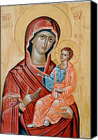Byzantine Icon Canvas Prints - blessed Virgin Mary Canvas Print by George Siaba