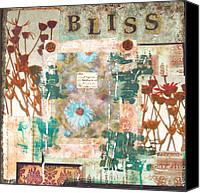 Signed Mixed Media Canvas Prints - Bliss Mixed Media Collage Painting Canvas Print by Catherine Jeltes