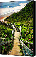 Staircase Canvas Prints - Block Island Canvas Print by Lourry Legarde