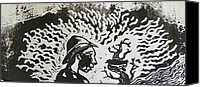Thor Drawings Canvas Prints - Block Print Detail Canvas Print by Thor Senior